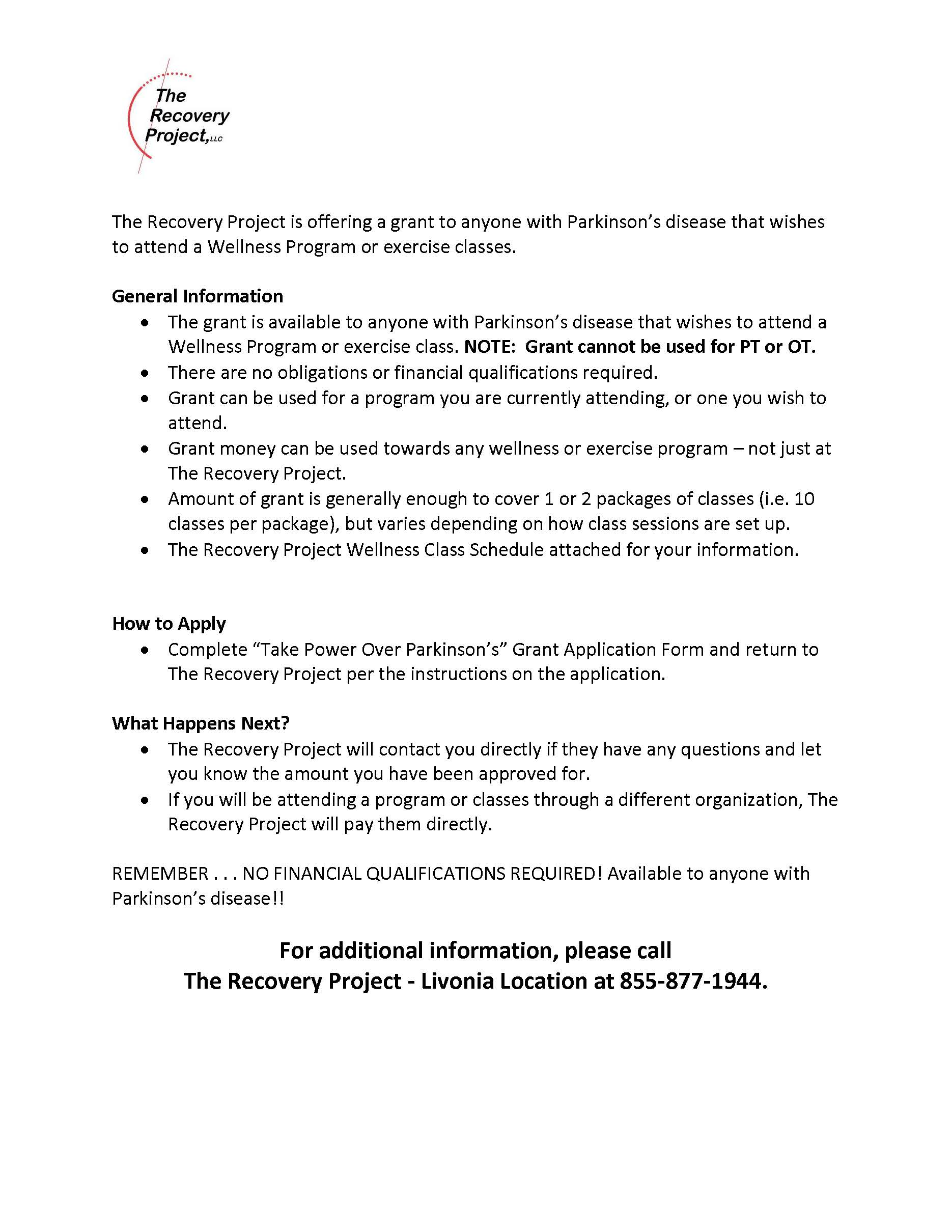 The Recovery Project Exercise Grant Jan 2019 Page 1